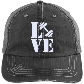 Love Fitness Distressed Trucker Cap Apparel CustomCat