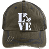 Love Fitness Distressed Trucker Cap Apparel CustomCat 6990 Distressed Unstructured Trucker Cap Brown/Navy One Size