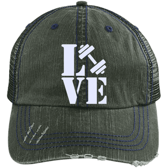 Love Fitness Distressed Trucker Cap Apparel CustomCat 6990 Distressed Unstructured Trucker Cap Dark Green/Navy One Size
