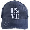Love Fitness Distressed Trucker Cap Apparel CustomCat 6990 Distressed Unstructured Trucker Cap Navy/Navy One Size