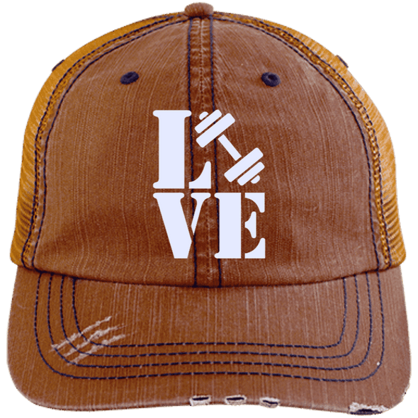 Love Fitness Distressed Trucker Cap Apparel CustomCat 6990 Distressed Unstructured Trucker Cap Orange/Navy One Size