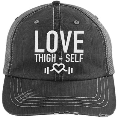 Love Thigh-Self Trucker Cap Apparel CustomCat 6990 Distressed Unstructured Trucker Cap Black/Grey One Size