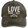Love Thigh-Self Trucker Cap Apparel CustomCat 6990 Distressed Unstructured Trucker Cap Brown/Navy One Size