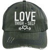 Love Thigh-Self Trucker Cap Apparel CustomCat 6990 Distressed Unstructured Trucker Cap Dark Green/Navy One Size