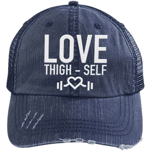 Love Thigh-Self Trucker Cap Apparel CustomCat 6990 Distressed Unstructured Trucker Cap Navy/Navy One Size