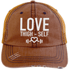 Love Thigh-Self Trucker Cap Apparel CustomCat 6990 Distressed Unstructured Trucker Cap Orange/Navy One Size