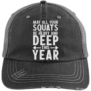 May all your Squats be Heavy and Deep this Year Caps Apparel CustomCat 6990 Distressed Unstructured Trucker Cap Black/Grey One Size