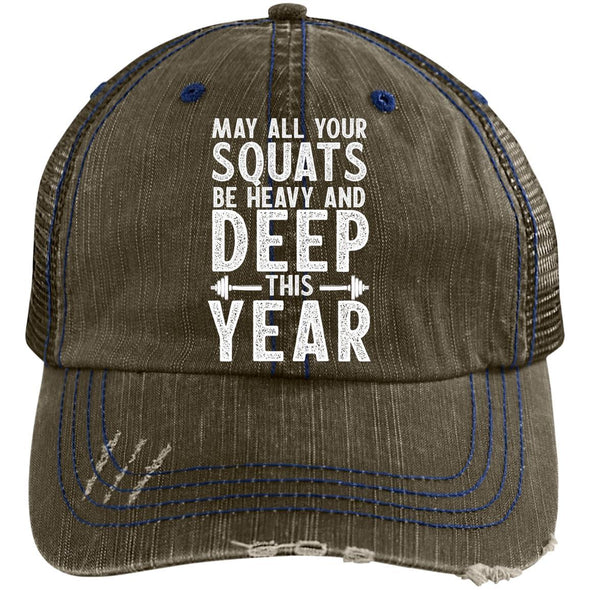 May all your Squats be Heavy and Deep this Year Caps Apparel CustomCat 6990 Distressed Unstructured Trucker Cap Brown/Navy One Size