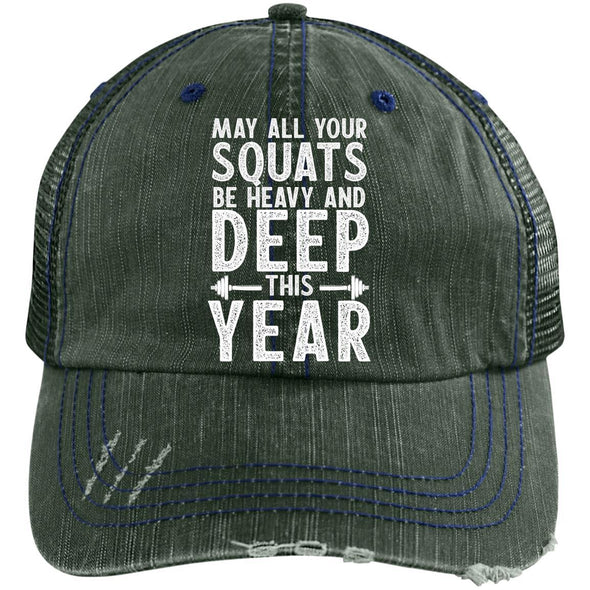 May all your Squats be Heavy and Deep this Year Caps Apparel CustomCat 6990 Distressed Unstructured Trucker Cap Dark Green/Navy One Size