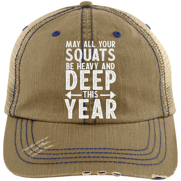 May all your Squats be Heavy and Deep this Year Caps Apparel CustomCat 6990 Distressed Unstructured Trucker Cap Khaki/Navy One Size