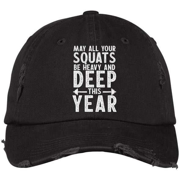 May all your Squats be Heavy and Deep this Year Caps Apparel CustomCat DT600 District Distressed Dad Cap Black One Size