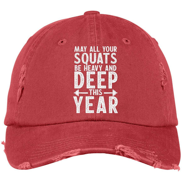 May all your Squats be Heavy and Deep this Year Caps Apparel CustomCat DT600 District Distressed Dad Cap Dashing Red One Size