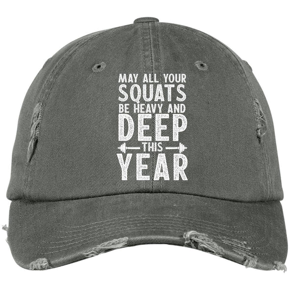May all your Squats be Heavy and Deep this Year Caps Apparel CustomCat DT600 District Distressed Dad Cap Light Olive One Size
