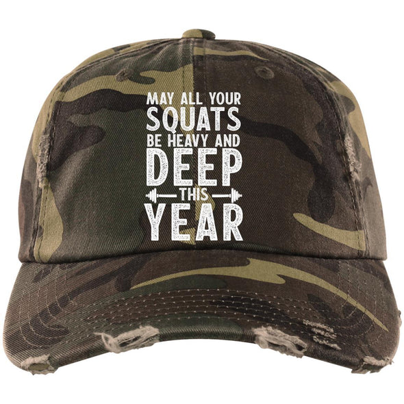 May all your Squats be Heavy and Deep this Year Caps Apparel CustomCat DT600 District Distressed Dad Cap Military Camo One Size