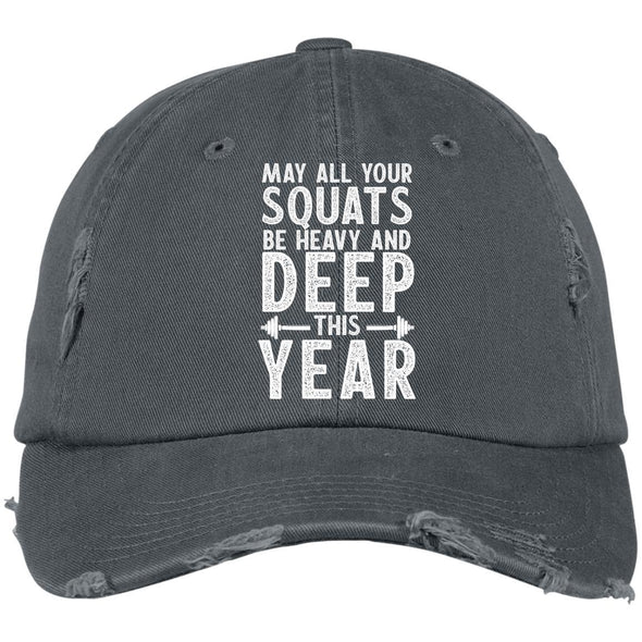 May all your Squats be Heavy and Deep this Year Caps Apparel CustomCat DT600 District Distressed Dad Cap Nickel One Size