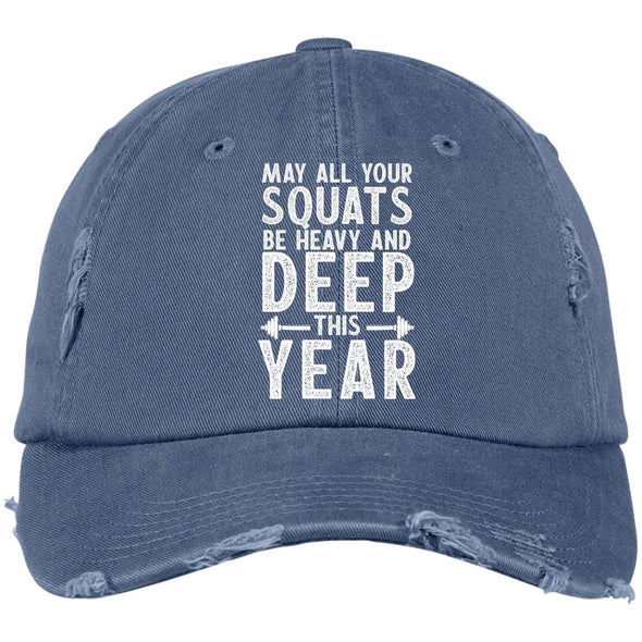 May all your Squats be Heavy and Deep this Year Caps Apparel CustomCat DT600 District Distressed Dad Cap Scotland Blue One Size