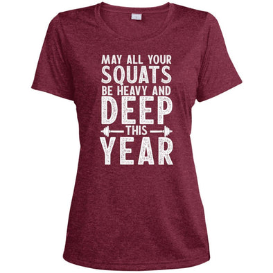 May all your Squats be Heavy and Deep this Year Dri-Fit T-Shirt T-Shirts CustomCat Cardinal Heather X-Small