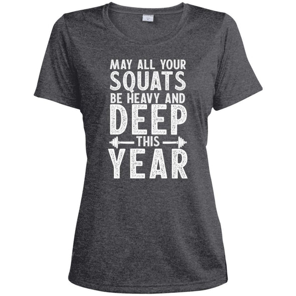 May all your Squats be Heavy and Deep this Year Dri-Fit T-Shirt T-Shirts CustomCat Graphite Heather X-Small