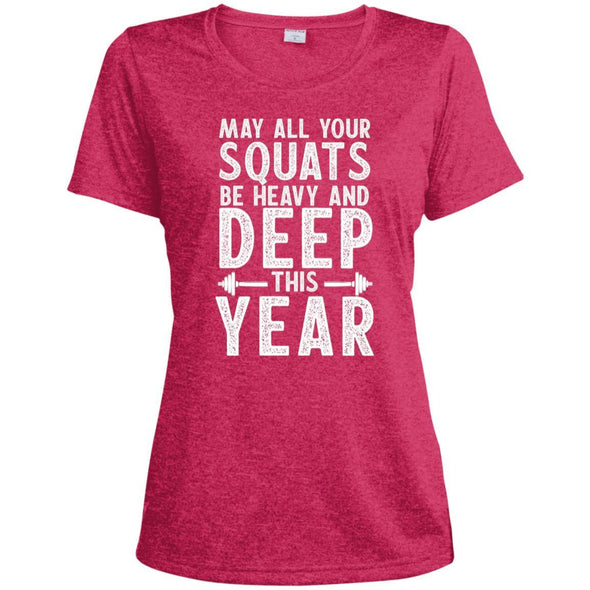 May all your Squats be Heavy and Deep this Year Dri-Fit T-Shirt T-Shirts CustomCat Pink Raspberry Heather X-Small