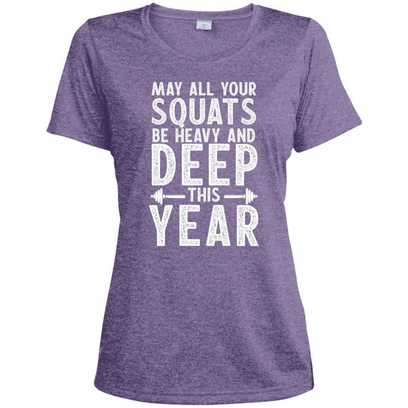 May all your Squats be Heavy and Deep this Year Dri-Fit T-Shirt T-Shirts CustomCat Purple Heather X-Small