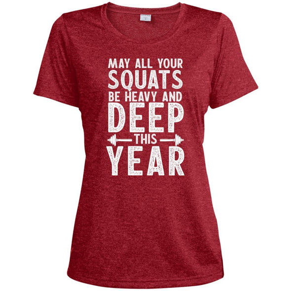 May all your Squats be Heavy and Deep this Year Dri-Fit T-Shirt T-Shirts CustomCat Scarlet Heather X-Small