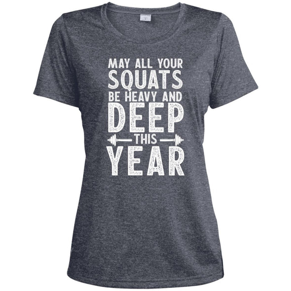 May all your Squats be Heavy and Deep this Year Dri-Fit T-Shirt T-Shirts CustomCat True Navy Heather X-Small