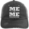 Me vs Me Distressed Trucker Cap Apparel CustomCat 6990 Distressed Unstructured Trucker Cap Black/Grey One Size