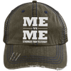 Me vs Me Distressed Trucker Cap Apparel CustomCat 6990 Distressed Unstructured Trucker Cap Brown/Navy One Size