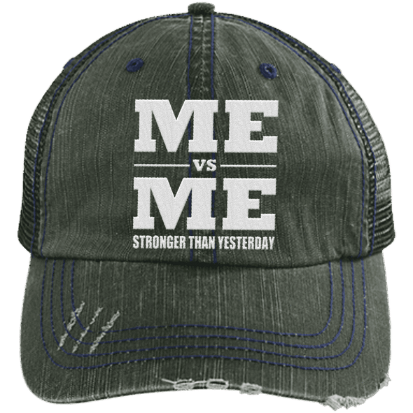 Me vs Me Distressed Trucker Cap Apparel CustomCat 6990 Distressed Unstructured Trucker Cap Dark Green/Navy One Size