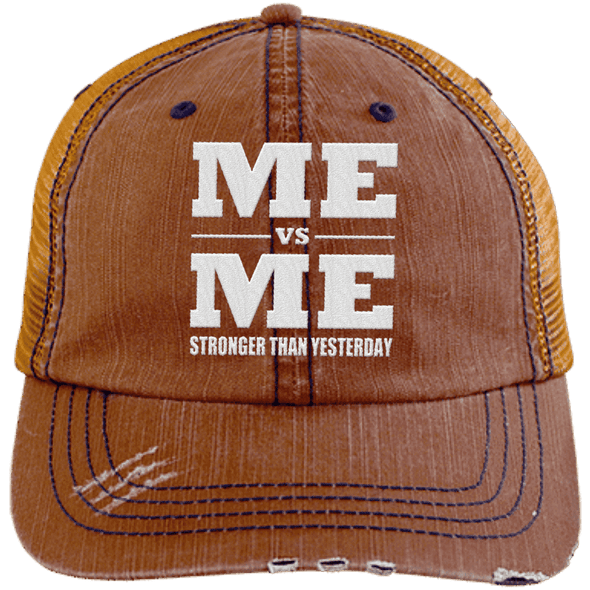 Me vs Me Distressed Trucker Cap Apparel CustomCat 6990 Distressed Unstructured Trucker Cap Orange/Navy One Size