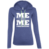 Me vs Me Hoodies Apparel CustomCat 887L Anvil Ladies' LS T-Shirt Hoodie Heather Blue/Neon Yellow Small