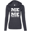 Me vs Me Hoodies Apparel CustomCat 887L Anvil Ladies' LS T-Shirt Hoodie Heather Dark Grey/Dark Grey Small
