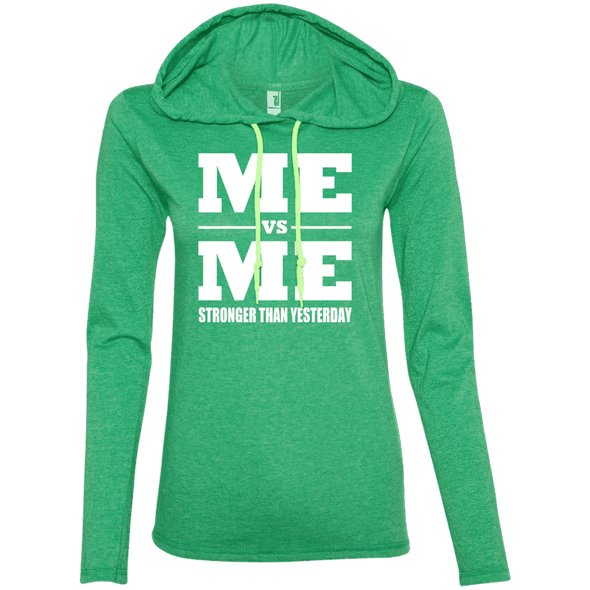 Me vs Me Hoodies Apparel CustomCat 887L Anvil Ladies' LS T-Shirt Hoodie Heather Green/Neon Yellow Small