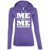 Me vs Me Hoodies Apparel CustomCat 887L Anvil Ladies' LS T-Shirt Hoodie Heather Purple/Neon Yellow Small