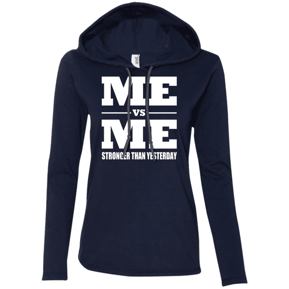 Me vs Me Hoodies Apparel CustomCat 887L Anvil Ladies' LS T-Shirt Hoodie Navy/Dark Grey Small