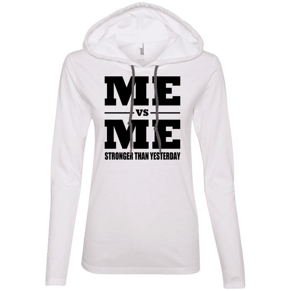 Me vs Me Hoodies Apparel CustomCat 887L Anvil Ladies' LS T-Shirt Hoodie White/Dark Grey Small