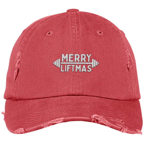 Merry Liftmas Cap Apparel CustomCat Distressed Dad Cap Dashing Red One Size