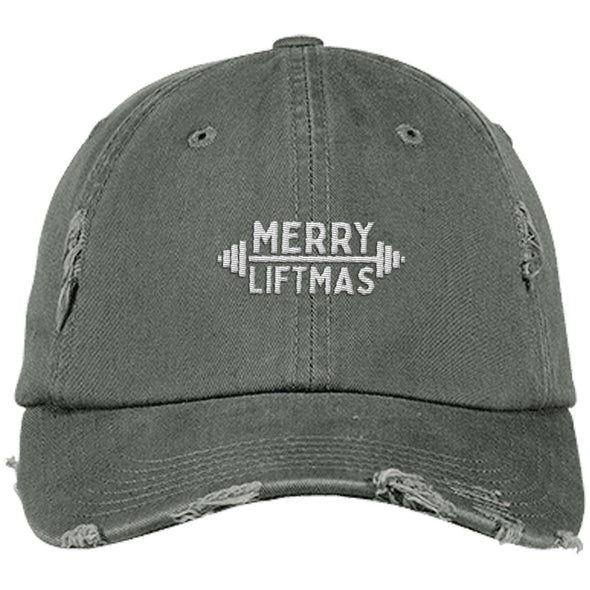 Merry Liftmas Cap Apparel CustomCat Distressed Dad Cap Light Olive One Size