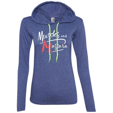 Muscles and Mascara Hoodie T-Shirts CustomCat Heather Blue/Neon Yellow S