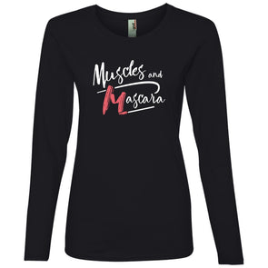Muscles and Mascara Long Sleeve T-Shirts CustomCat Black S
