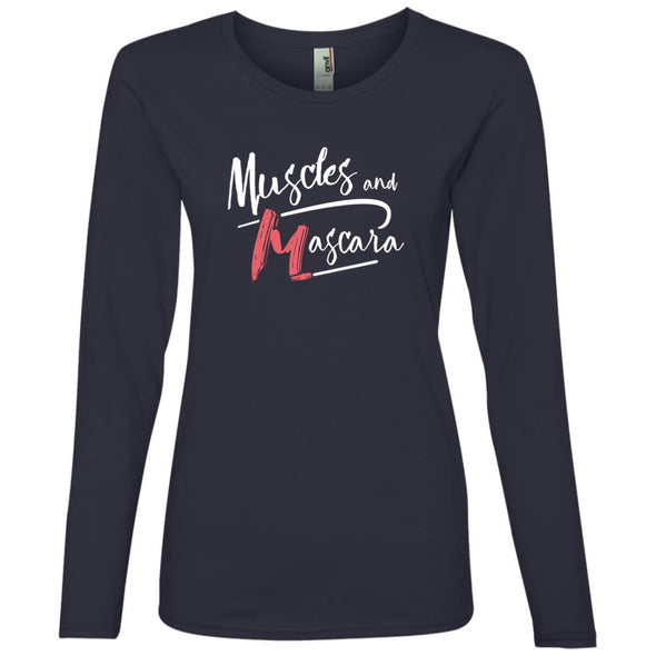 Muscles and Mascara Long Sleeve T-Shirts CustomCat Navy S
