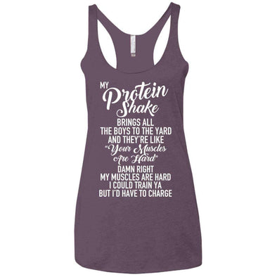 My PROTEIN SHAKE Brings the Boys T-Shirts CustomCat Vintage Purple X-Small