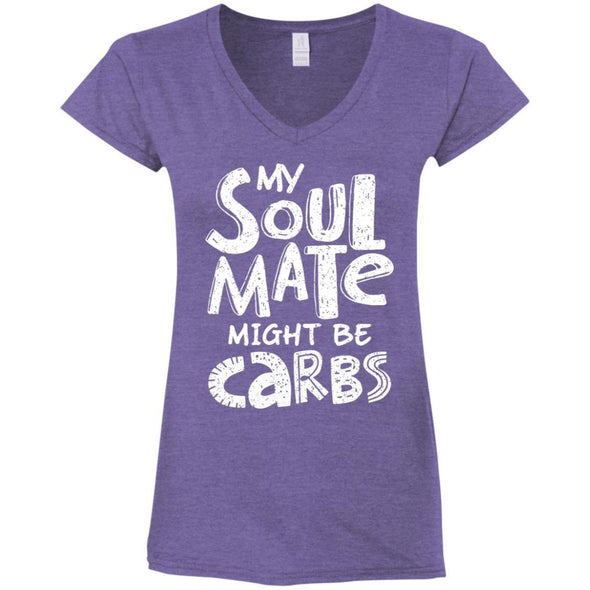 My Soulmate Might be Carbs - Light Apparel CustomCat Fitted T-Shirt Heather Purple S