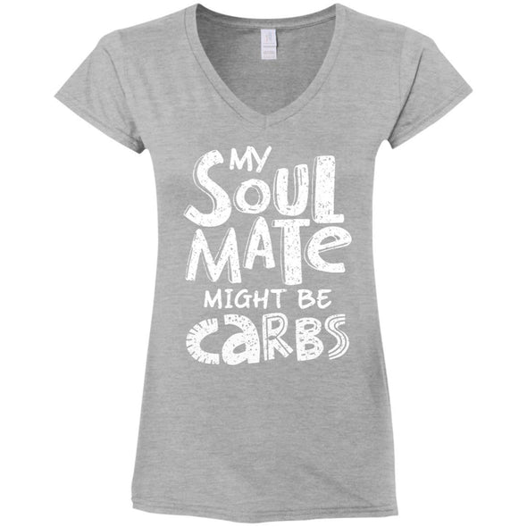 My Soulmate Might be Carbs - Light Apparel CustomCat Fitted T-Shirt Sport Grey S