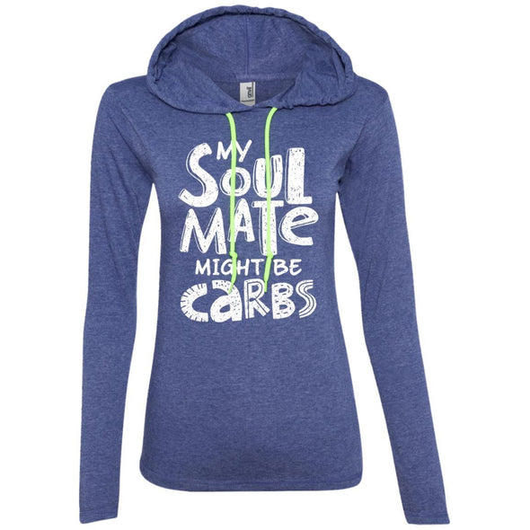 My Soulmate Might be Carbs - Light Apparel CustomCat LS T-Shirt Hoodie Heather Blue/Neon Yellow S