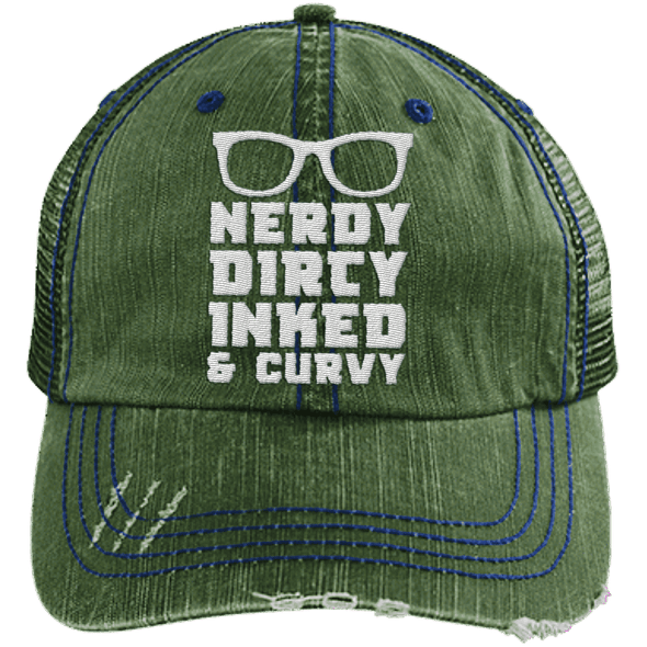 Nerdy Dirty Inked Curvey Hats CustomCat Dark Green/Navy One Size