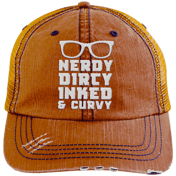 Nerdy Dirty Inked Curvey Hats CustomCat Orange/Navy One Size