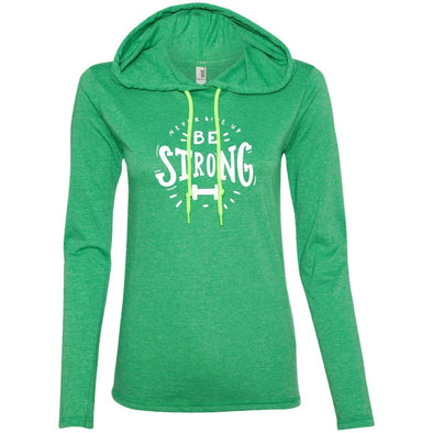 Never Give Up Be Strong Apparel CustomCat Long Sleeve T-Shirt Hoodie Heather Green/Neon Yellow S