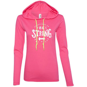 Never Give Up Be Strong Apparel CustomCat Long Sleeve T-Shirt Hoodie Hot Pink/Neon Yellow S