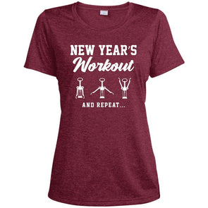 New Year's Workout Dri-Fit T-Shirt T-Shirts CustomCat Cardinal Heather X-Small